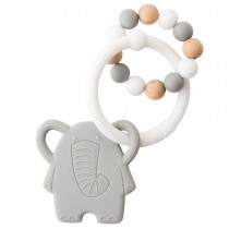 Nattou Silicone teether elephant and wooden beads